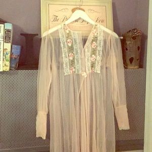 Nightgown robe rose pink